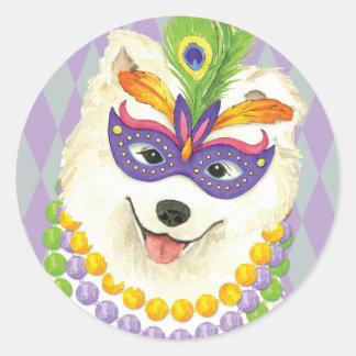 Mardi Gras Samoyed Classic Round Sticker