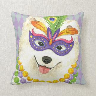 Mardi Gras Samoyed Throw Pillow