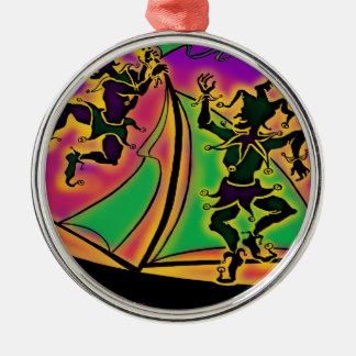 Mardi Gras Ship of Fools Silver-Colored Round Decoration