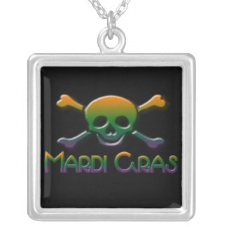 Mardi Gras Skull  & Crossbones Personalized Necklace