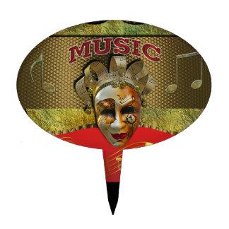 Mardi Gras Smiling Mask Metallic Music Notes Cake Topper