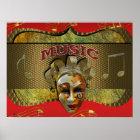 Mardi Gras Smiling Mask Metallic Music Notes Poster