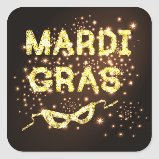 Mardi Gras Square Sticker
