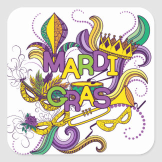 Mardi Gras - Square Stickers