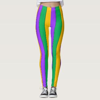 Mardi Gras Stripes Pattern Purple Green Yellow Leggings
