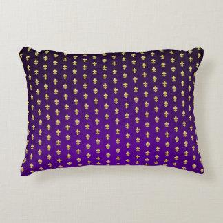 Mardi Gras Style Purple Gradient and Gold Fleur-de Decorative Cushion