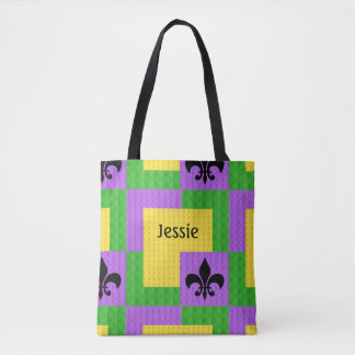 Mardi Gras Themed Tote With Name