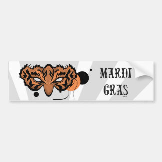 MARDI GRAS TIGER LOVE CAT CUTE Bumper Sticker