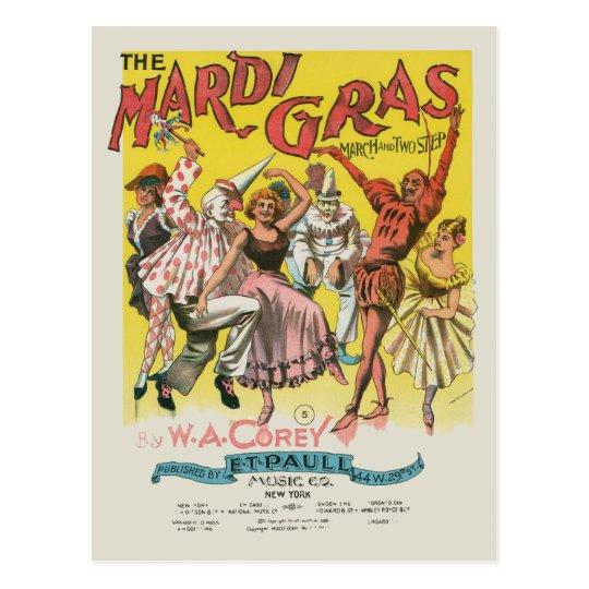 Mardi Gras Vintage Yellow Poster Postcard