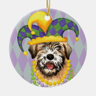 Mardi Gras Wheaten Round Ceramic Decoration