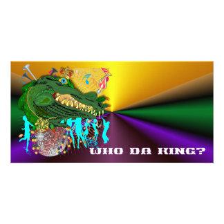 Mardi Gras Who Da King? Card Customised Photo Card