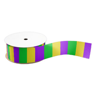 Mardi Gras Wide Vertical Stripes Grosgrain Ribbon