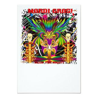 Mardi Gras Witch Doctor-Skull V-3-T 13 Cm X 18 Cm Invitation Card