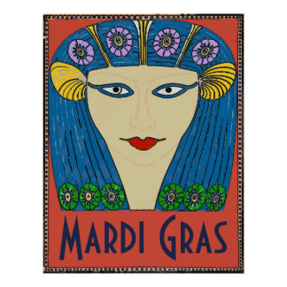 Mardi Gras Woman Face Poster