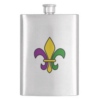 Mardi grass fleur-de-lys hip flask