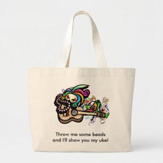 Mardis Gras Ukuleles Large Tote Bag
