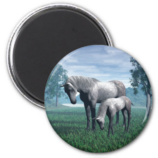 Mare and Foal 6 Cm Round Magnet
