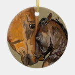 Mare and Foal Double-Sided Ceramic Round Christmas Ornament