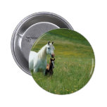 Mare and Foal in Tall Grass Button