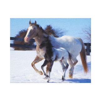 Mare and foal Oil Painting on Canvas Stretched Canvas Prints