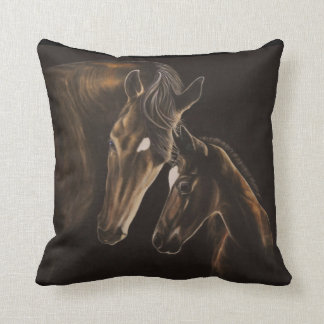 Mare and foal pillow throw cushion