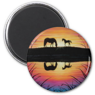 Mare and Foal sunrise  magnet