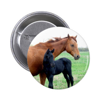 Mare and Her Colt 6 Cm Round Badge
