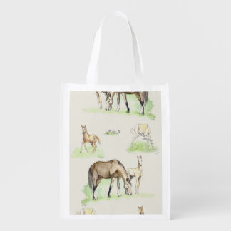 Mare and Horse Foal Pattern Grocery Bag