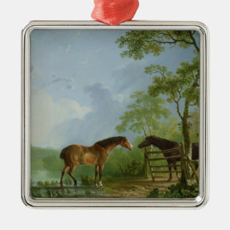 Mare and Stallion in a Landscape Christmas Ornament