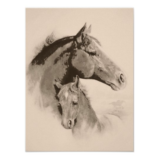 Mare-n-Foal with charcoal effect-tint Poster