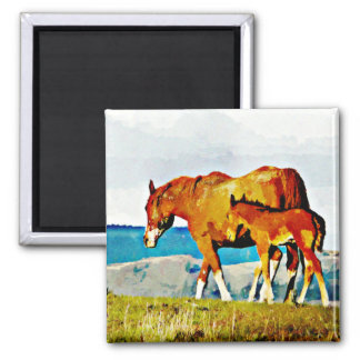 Mare with Foal on the Ridge Fridge Magnets