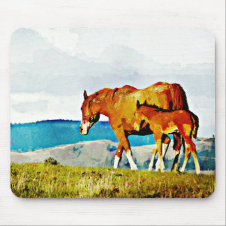 Mare with Foal on the Ridge Mouse Pad