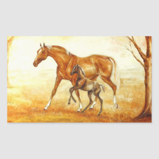 mare with foal rectangular sticker