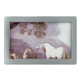 Mares and Foals in a Mountainous Landscape Rectangular Belt Buckles