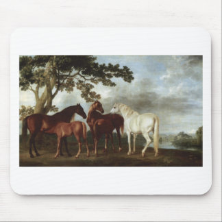 Mares and Foals in a River Landscape George Stubbs Mouse Mat