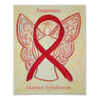 Marfan Syndrome Awareness Red Angel Ribbon Posters
