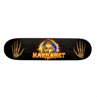 Margaret skull real fire and flames skateboard des