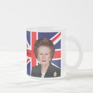 Margaret Thatcher - British Flag Frosted Glass Coffee Mug