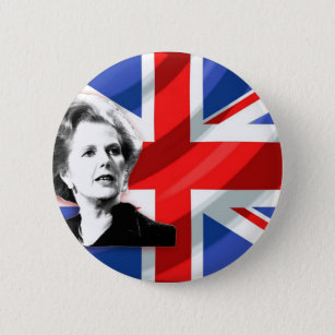 Margaret Thatcher On Union Jack Button Badge Round Lapel Pin in 2 sizes Tory