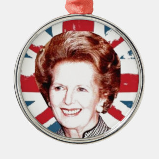 MARGARET THATCHER UNION JACK Silver-Colored ROUND DECORATION