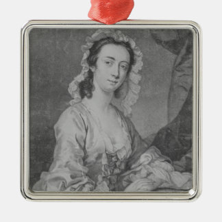 Margaret Woffington, engraved by John Faber Jr Silver-Colored Square Decoration