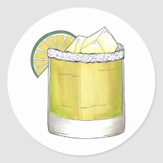 Margarita Cocktail Glass Bar Mixed Drink Salt Lime Classic Round Sticker