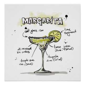 Margarita Drink Recipe Design Poster