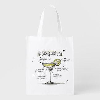 Margarita Drink Recipe Design Reusable Grocery Bag