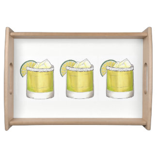 Margarita Summer Cocktail Party Mixed Drink Lime Serving Tray