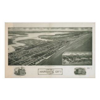 Margate New Jersey 1925 Antique Panoramic Map Poster