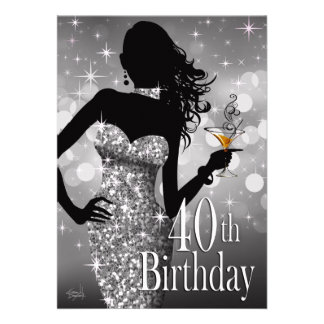 Margie Bling Sparkle 40th Birthday | silver Cards