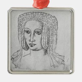 Marguerite de Brabant Silver-Colored Square Decoration