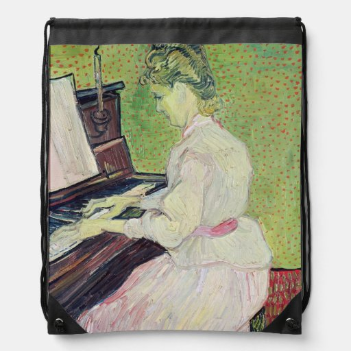 Marguerite Gachet at the Piano, 1890 Drawstring Bags