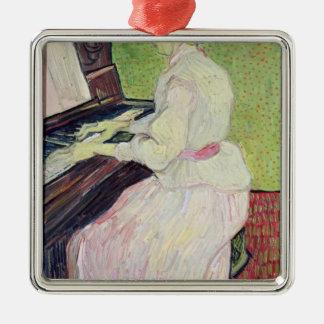 Marguerite Gachet at the Piano, 1890 Silver-Colored Square Decoration